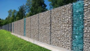 Забор из габионов сплошной